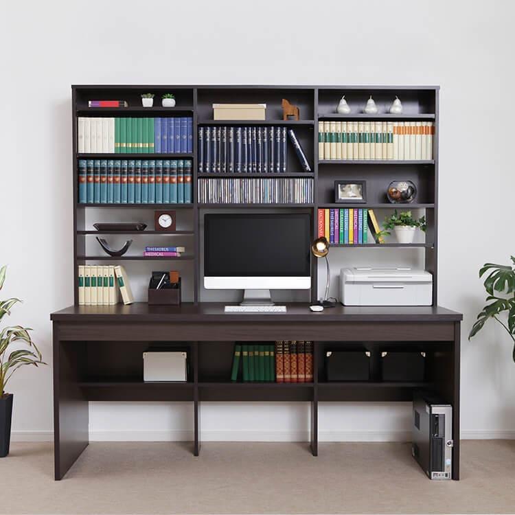 パソコンデスク(ダークブラウン/オーク) キングサイズ 壁面収納一体型 大容量本棚付き オフィス ワーク PC