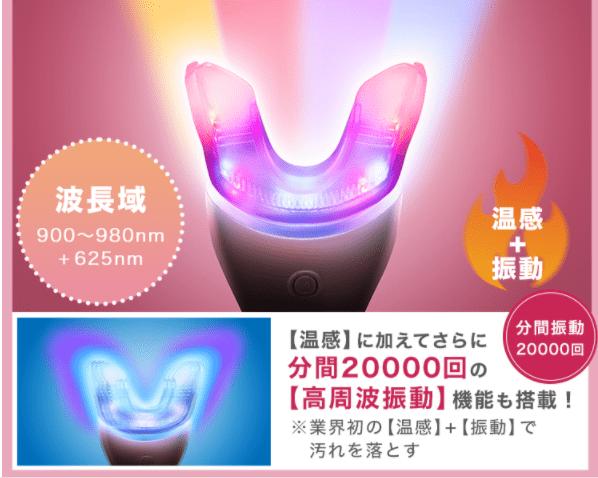 温感モードで4種のLEDを同時照射
