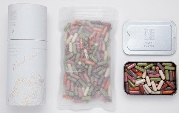 カプセルサラダの使用野菜と成分rainbow